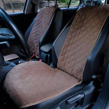 """Накидки на сидіння з Алькантари """"PREMIUM"""" коричневі ,широкі, на передні сидіння"""