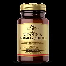 Витамин А, Dry Vitamin A Solgar, 1500 мкг, 100 таблеток