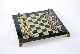 Шахматы Manopoulos, Миньонский воин, латунь, в деревянном футляре 36х36см (S8GRE)