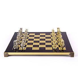 Шахматы Manopoulos, Миньонский воин, латунь, в деревянном футляре 36х36см (S8RED )