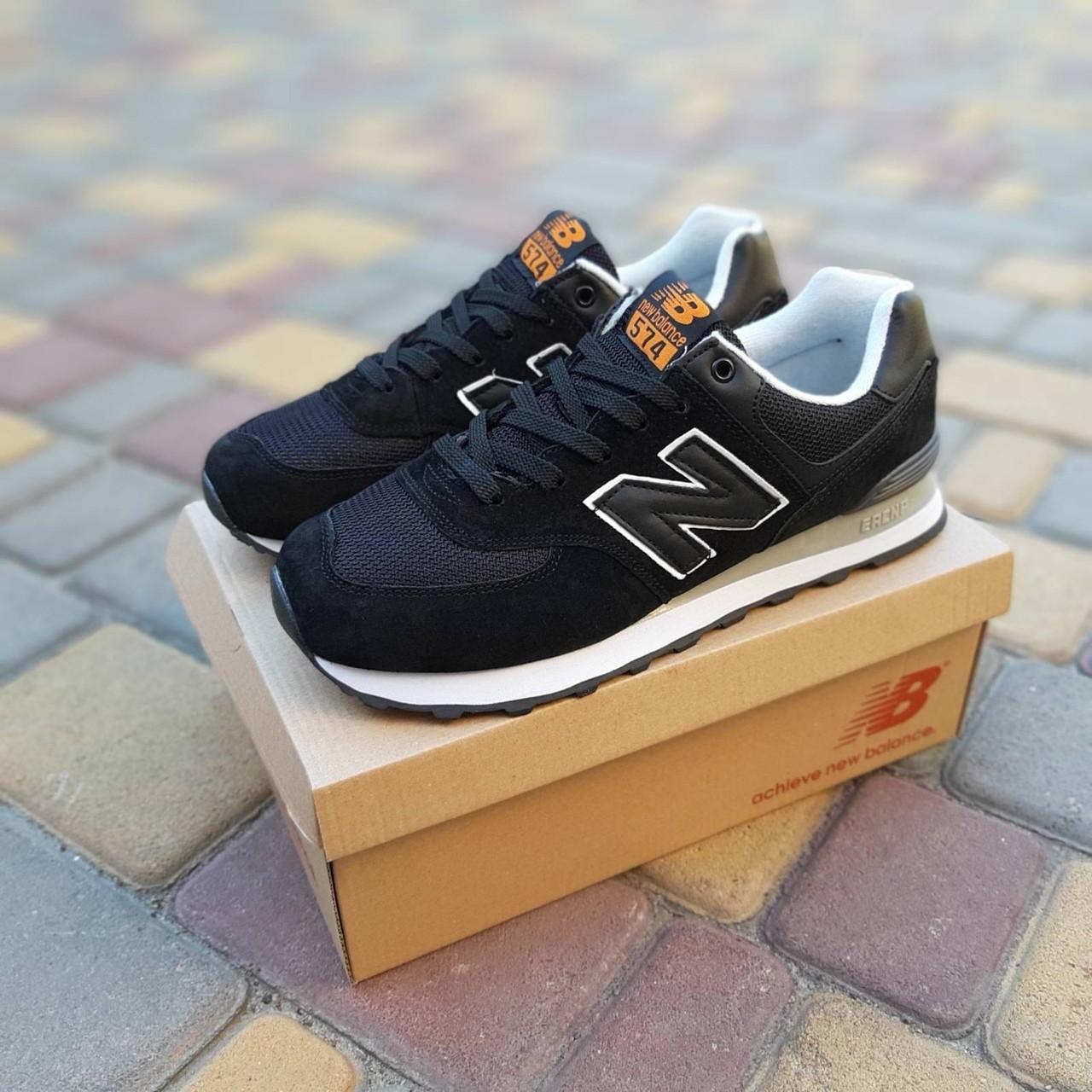 Женские кроссовки New Balance 574 (черные) 20254