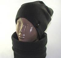 Комплект шапка и шарф-труба унисекс серый