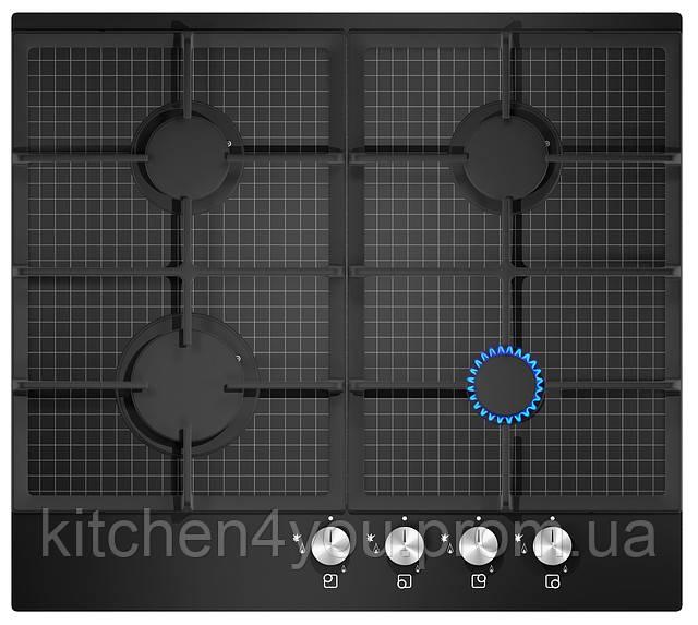 """Sistema 303 СG (600 мм.), газовая варочная поверхность черное стекло / декор """"квадрат"""""""