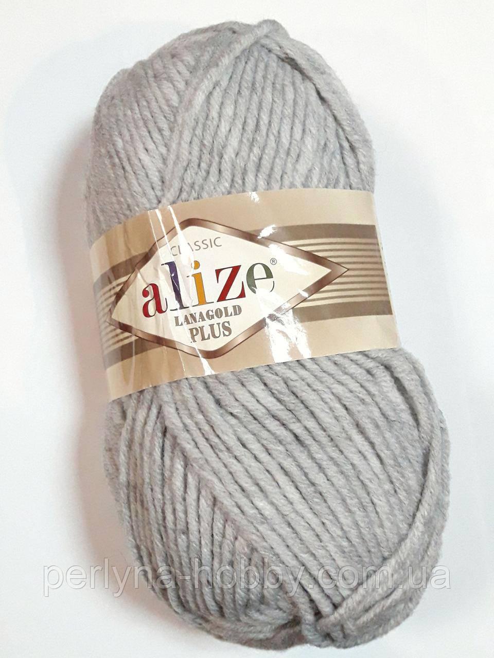 Пряжа Ализе Ланаголд Плюс Alize Lanagold Plus 100 гр, 140 м. 49 % Шерсть, 51 % акрил, сіра світла