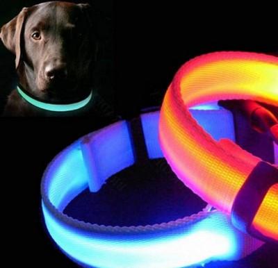 Ошейник LED светящийся узкий для небольших собак и кошек 0.5 м СИНИЙ