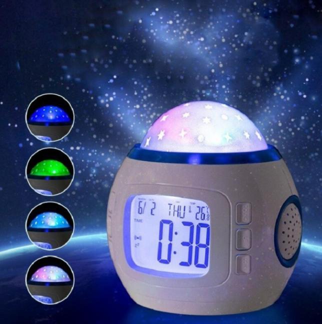 Музыкальный ночник-проектор звездное небо 1038 с часами и будильником