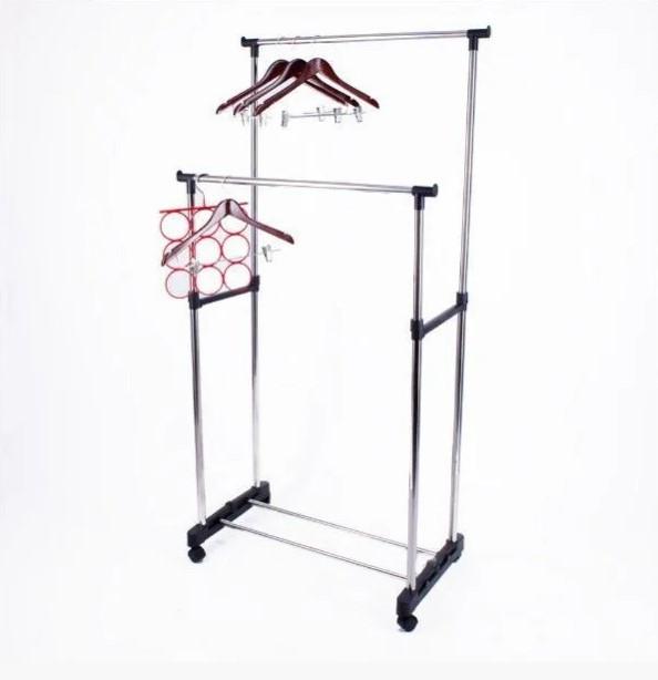 Универсальная прочная Двойная напольная передвижная стойка для одежды Double-Pole.Лучшая Цена!