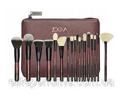 Большой набор кистей Zoeva для макияжа в косметичке 15 шт