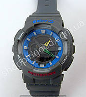 Детские часы Casio Baby G BA-111 5338 (013547) темный циферблат серые с синим водонепроницаемые