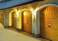 Ворота гаражные секционные LTH 40 серии Design из дерева с электроприводом, фото 1