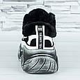Женские кроссовки зимние на меху белые с черным b-479, фото 5