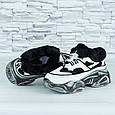 Женские кроссовки зимние на меху белые с черным b-479, фото 7