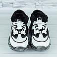 Женские кроссовки зимние на меху белые с черным b-479, фото 6