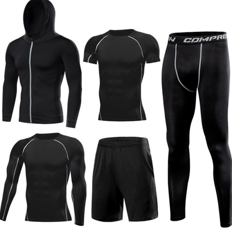 Компрессионный комплект 5в1 для тренировок черного цвета (рашгард+леггинсы+шорты+кофта+футболка) размер XXL