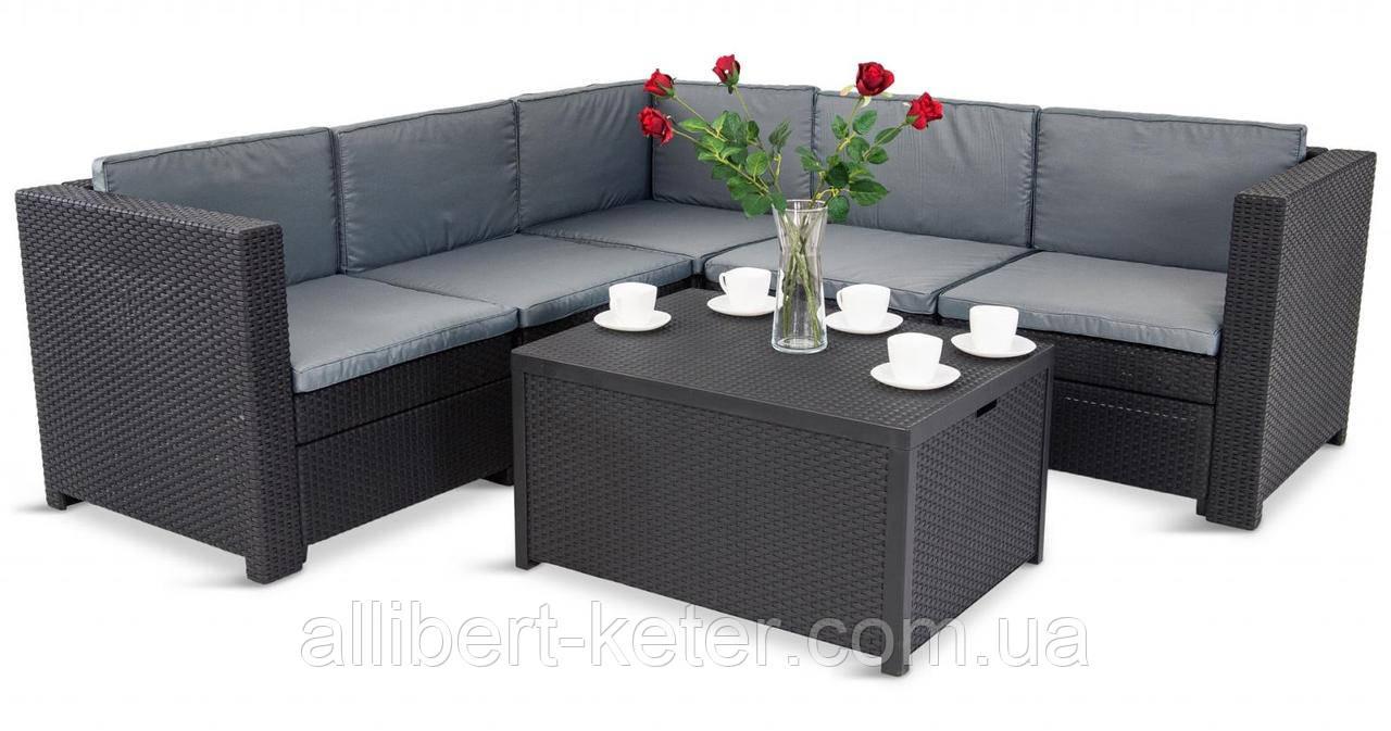 Комплект садовой мебели Allibert by Keter Provence Box Set Graphite ( графит ) искусственный ротанг