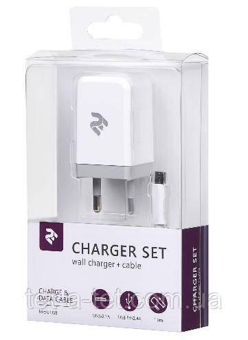 Набор Сетевое ЗУ 2E USB Wall Charger DC5V/2.1A+кабель MicroUSB 2.4A