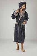 Мужской бамбуковый халат длинный халаты банные мужские с капюшоном,размер L/XL, Nusa