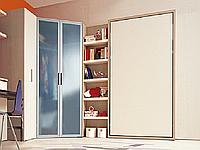 Односпальная шкаф-кровать со шкафом-купе, столом, полками, фото 1