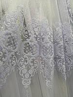 Тюль белый с плотной вышивкой Турция, фото 1