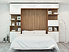 Шкаф-кровать трансформер с антресолями, диваном и декоративной подсветкой