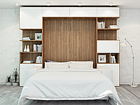 Шкаф-кровать трансформер с антресолями, диваном и декоративной подсветкой, фото 1