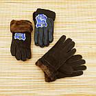 УЦЕНКА перчатки женские замшевые на меху с отворотом размер L случайное ассорти 20038014, фото 2
