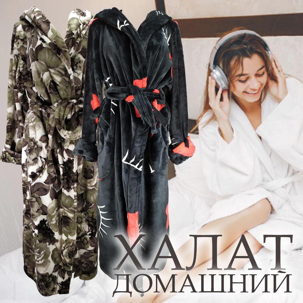 Халат женский на запах с капюшоном из Well Soft, Украина, р 50, цвета в ассортименте,
