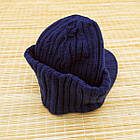 Шапка унисекс шерстяная с козырьком и отворотом синяя 20038083, фото 2