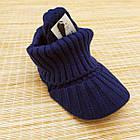 Шапка унисекс шерстяная с козырьком и отворотом синяя 20038083, фото 3