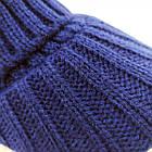 Шапка унисекс шерстяная с козырьком и отворотом синяя 20038083, фото 4