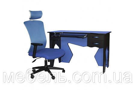 Компьютерный стол со стулом Barsky HG-01/BM-05 Homework Blue, рабочая станция, фото 2