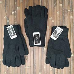 Шерстяные перчатки мужские двойные с начёсом Корона 8184 (25см) чёрные ПМЗ-160030