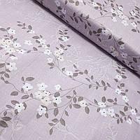 Бязь з білими квіточками і сірими гілочками на бузковому, ш. 220 см, фото 1