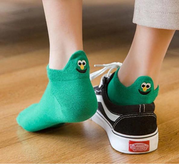 Носки с приколами демисезонные короткие Neseli Coraplar Emoji Green Embroidered 7410 Турция one size (37-44р)