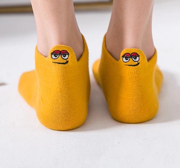 Носки с приколами демисезонные короткие Neseli Coraplar Emoji Orange Embroidered 7406 Турция one size (37-44р)