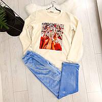 Шикарная махровая пижама с ярким принтом