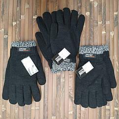 Перчатки мужские двойные шерсть с густой махрой зимние Корона 8133 24см чёрные ПМЗ-1620
