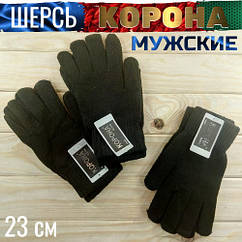 Перчатки мужские шерсть зимние с начёсом Корона 8180 25 см чёрные ПМЗ-160022