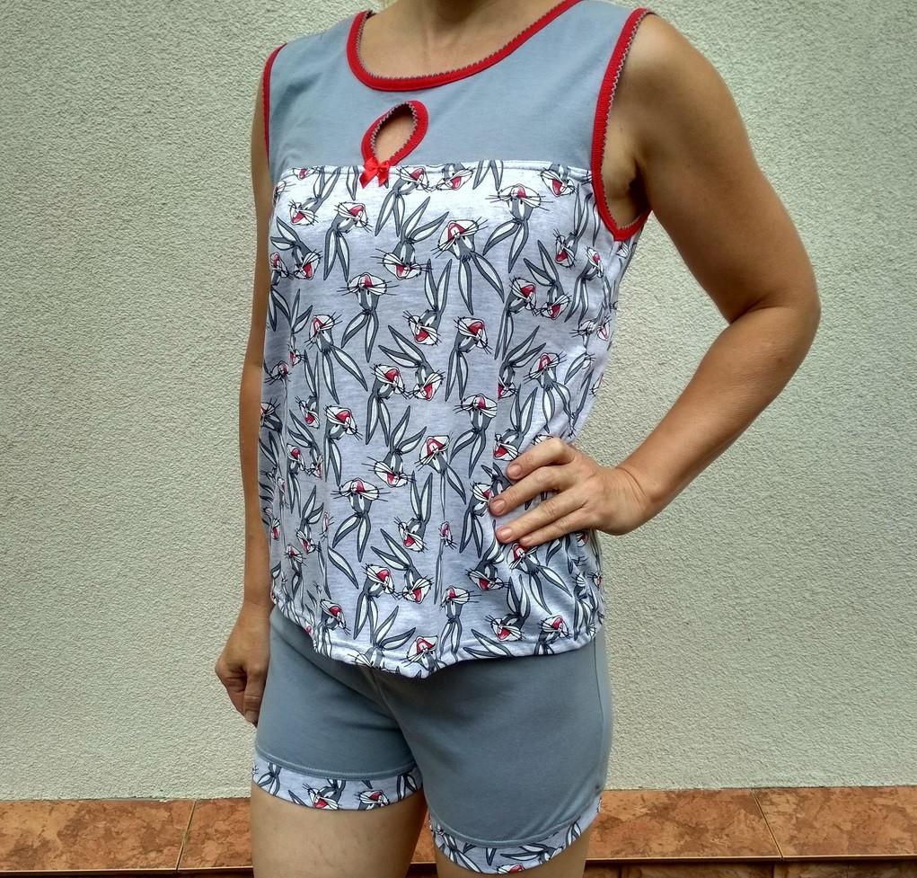 Пижама женская «Сова» (футболка +шорты) р.84, 100% хлопок (кулир), 20020682