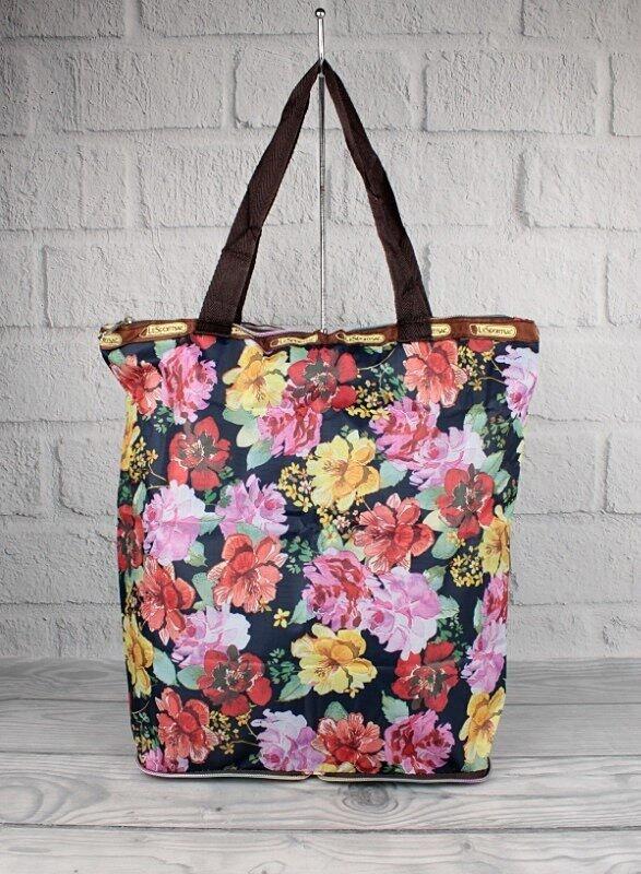 Сумка хозяйственная трансформер текстильная цветы LeSports 9801-24