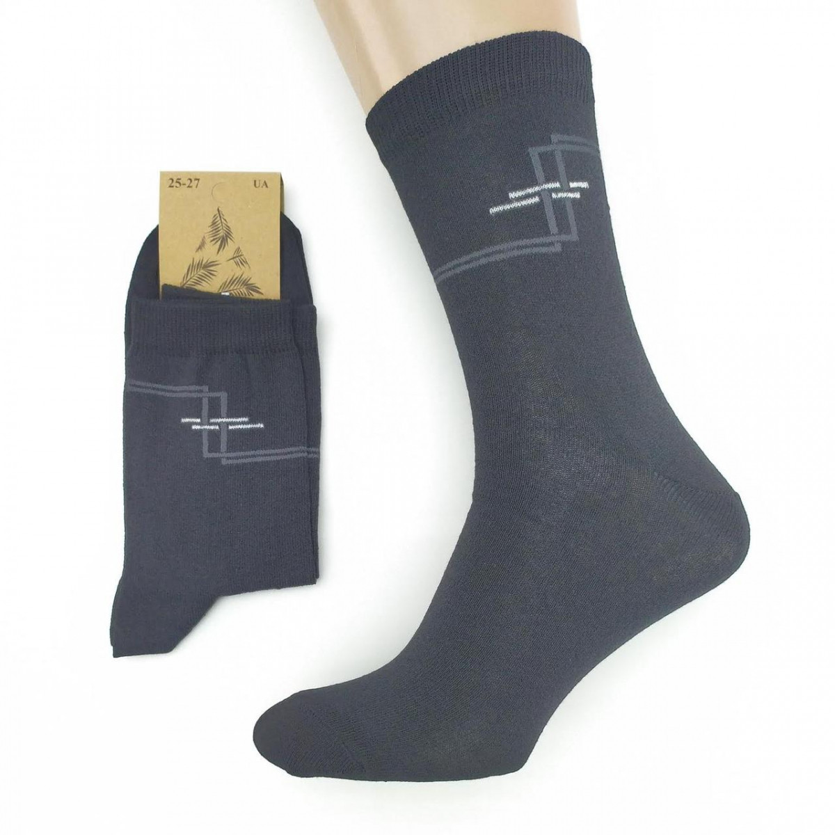 Носки мужские демисезонные средние Loft Socks 25-27р черные с узором 20034139