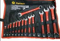 Набор ключей комбинированных, рожково-накидных 14 ключей на полотне. PLATINUM