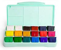 Набор для рисования Краски Гуашь HIMI 18 цветов по 30 мл (общий объем 540 мл!) мятная зеленая коробка