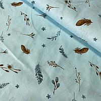 Сатин с бирюзовыми перышками на голубом, ш. 160 см, фото 1