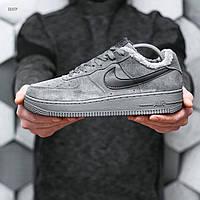 Мужские зимние кроссовки Nike Air Force Dark Grey Winter (серо-черные) 569TP