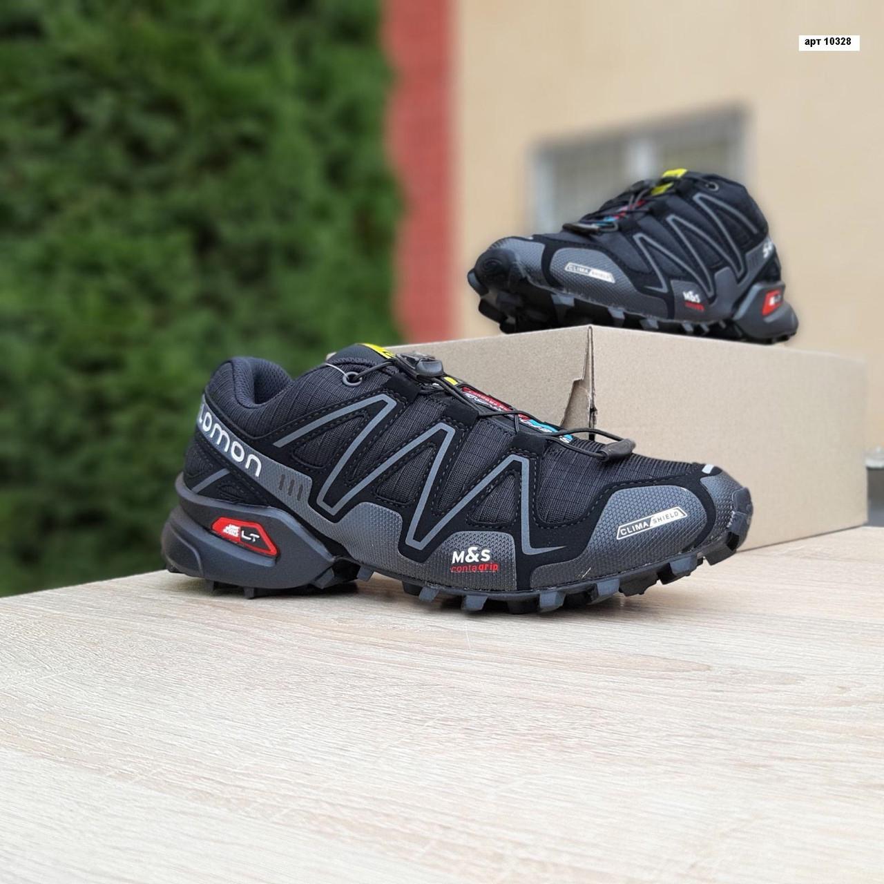 Мужские кроссовки Salomon Speedcross 3 (черно-серые) 10328