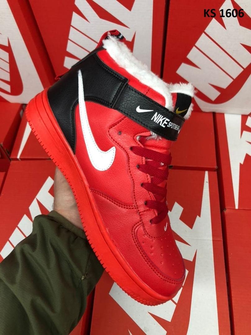 Мужские зимние кроссовки Nike Air Force 1 07 Mid LV8 (красные) KS 1606