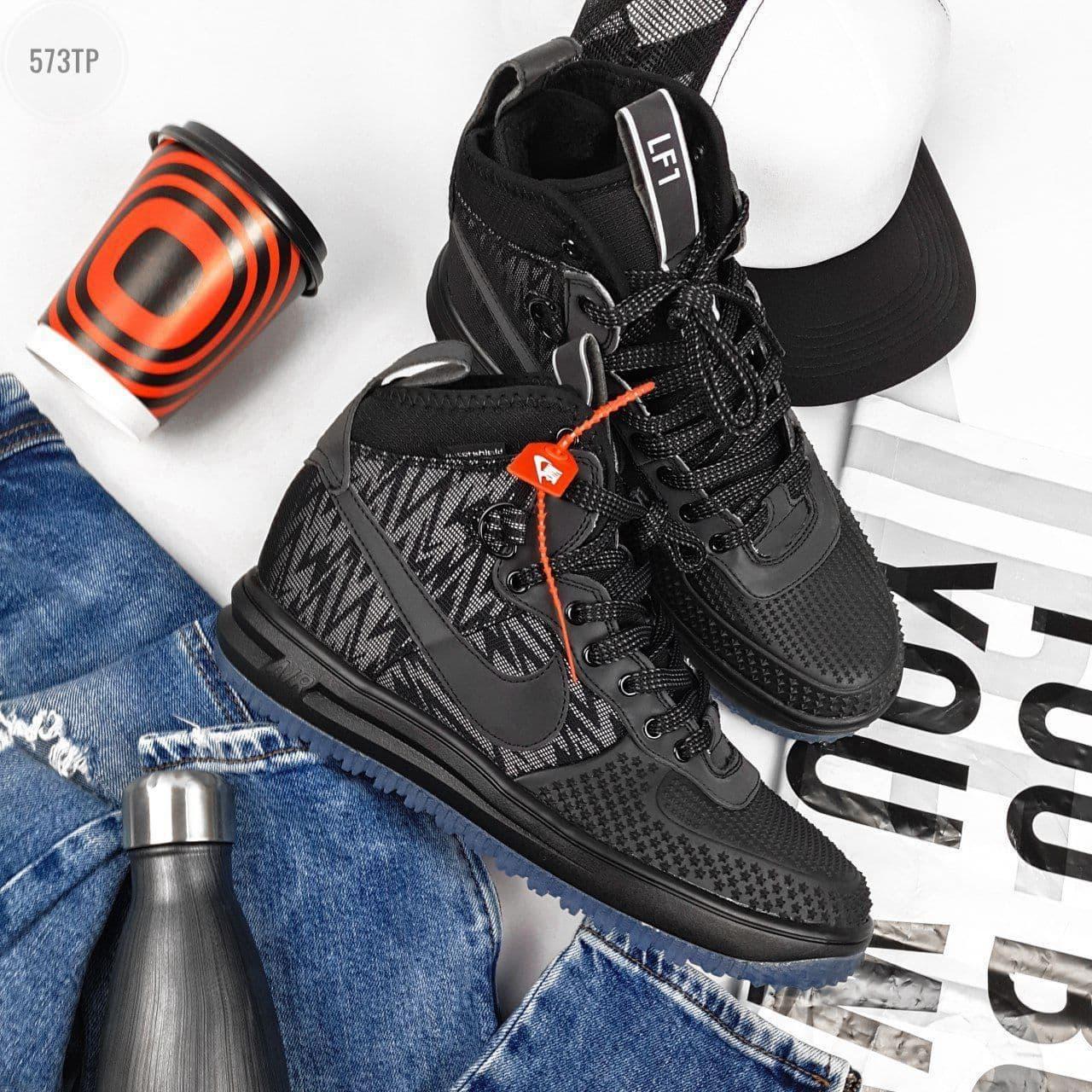 Мужские кроссовки Nike Lunar Force Duckboot Рефлективные (черные) 573TP