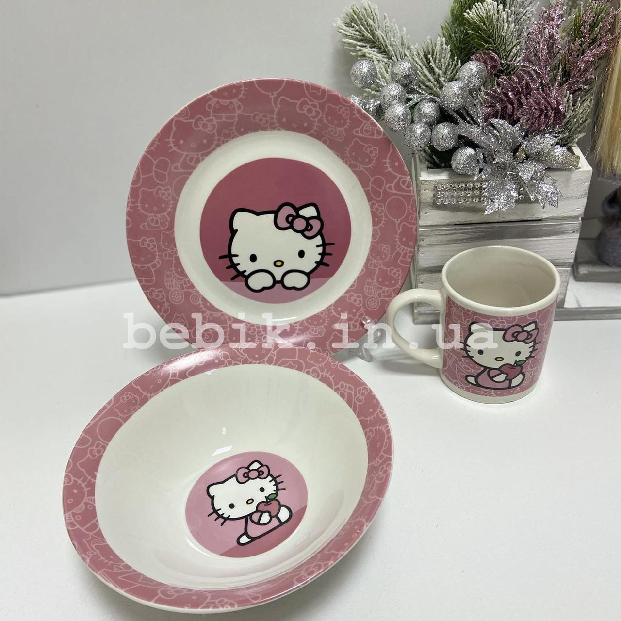 Подарочный набор детской посуды из керамики Hello Kitty
