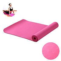 Коврик для фитнеса и йоги TPE двухслойный Meileer tpe-23 Pink 1830*610*6mm